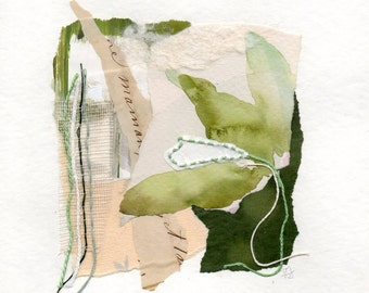 Eveil, original collage on paper, contemporary art, vintage papers, fabric and thread,