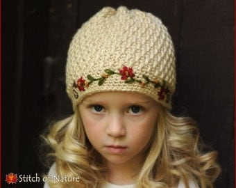 Crochet PATTERN - The Florence Pearl Beanie Hat with Embroidered Floral Vine (Baby to Adult sizes - Girls) - id: 16012