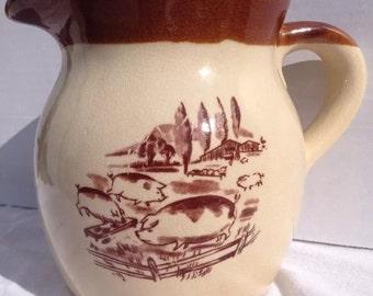 Vintage Pottery Stoneware Quart Pitcher Himark  Pigs