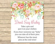 Floral Don't Say Baby Printable Game, Pink Floral Don't Say Baby Game, Pink Roses Baby Shower Game, DIY Baby Game, Instant Download, 018-W