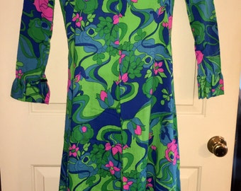 Vtg 70s Psychedelic Floral Elephant  Bell Bottom Ruffled Long Sleeves Jumpsuit Sz S/M