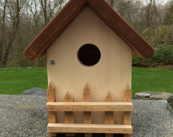 Handcrafted, Handmade Folk Art Birdhouse: The Country Cottage Birdhouse