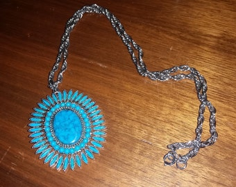 Vintage Faux Turquoise Pendant With Chain