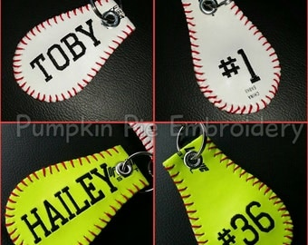 Personalized Embroidered Baseball or Softball keychain! Made from a real baseball or softball!