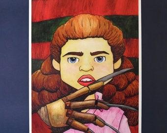 Nightmare on Elm Street, Watercolour Portrait, Nancy Thompson, Freddy Krueger, Classic Horror Movie, A4 Print