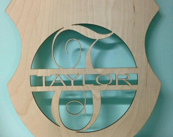 Laser Cut Unpainted Police Badge Door Hanger/ Wall Decor- Can customize to  any name