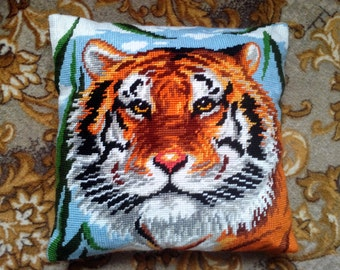 Decorative Pillow, Custom pillow cover, Embroidered Pillow, Cross Stitch Pillow, tiger
