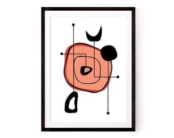 Mid century modern print, Printable poster, Coral, Red, Atomic art, Minimalis poster, Modern print, Living room wall art, Office decor