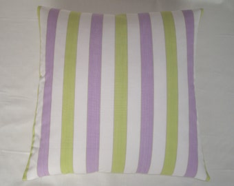 Stripe cushion cover in lime and lilac, 18inch x 18inch