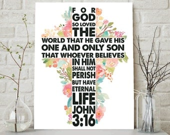 For God So Loved The World, John 3:16, Scripture Print, Scripture Wall Art, Bible Verse Art, Christian Wall Art, Christian Printable, Bible
