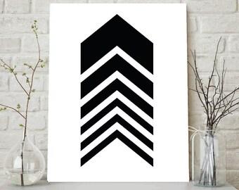 Black Chevrons, Chevron Wall Art, Black and White Chevron Print, Black Chevron Arrow Print, Black Arrow Print, Geometric Art, Wall Print