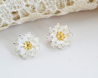 2 pcs sterling silver daisy flower charm pendant QT