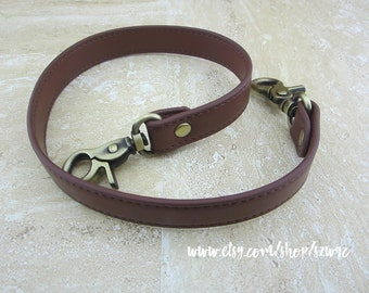 "22.5"" Brown Faux Leather Purse Straps"