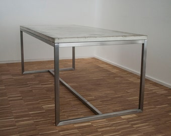 Conference table / desk / dining table - concrete and stainless steel