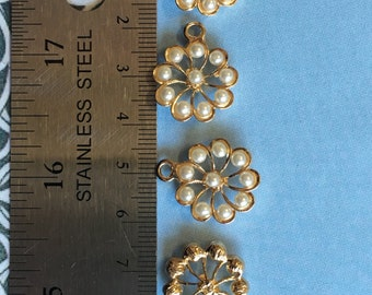 Flower with pearls (10 pieces)