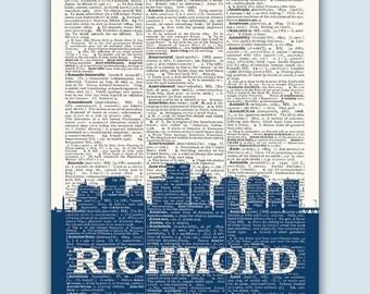 Richmond Skyline, Richmond Poster, Richmond Decor, Richmond Print, Richmond Wall Art, Richmond Gift, Richmond Wall Decor, Richmond Virginia