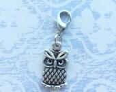 Owl charm clip on - Planner / Filofax / Midori / Travelers notebook / junk journal / bracelet