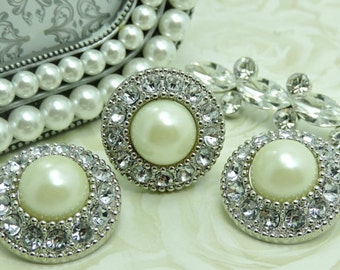 IVORY Pearl Buttons W/ Crystal Clear Rhinestones Silver Acrylic Buttons DIY Wedding Garment Coat Fashion 25mm 3367 08P 2R