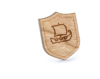Viking Ship Lapel Pin, Wooden Pin, Wooden Lapel, Gift For Him or Her, Wedding Gifts, Groomsman Gifts, and Personalized