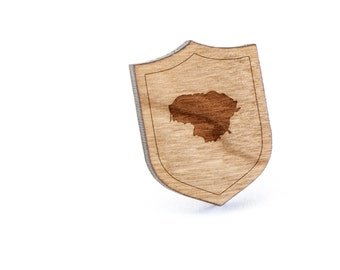 Lithuania Lapel Pin, Wooden Pin, Wooden Lapel, Gift For Him or Her, Wedding Gifts, Groomsman Gifts, and Personalized