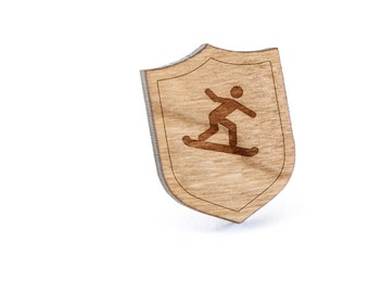 Snowboarder Lapel Pin, Wooden Pin, Wooden Lapel, Gift For Him or Her, Wedding Gifts, Groomsman Gifts, and Personalized