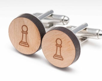 Chess Pawn Wood Cufflinks Gift For Him, Wedding Gifts, Groomsman Gifts, and Personalized