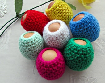 Set of 7 Egg Cozy, Easter Egg Cover, Easter Decorations, Crochet Easter Egg, Easter Eggs Wrapper, Knitted Egg Cozy, Spring Decorations