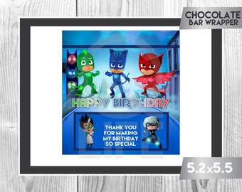 PJ MASKS Chocolate Wrapper, Pj Masks Chocolate Wrappers, Pj Masks Party