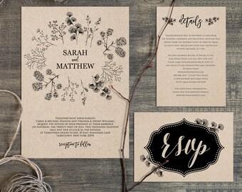 rustic wedding invitation template | etsy, Wedding invitations