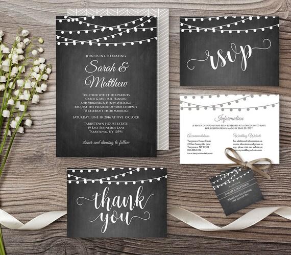 Wedding Invitation Template Chalkboard String By