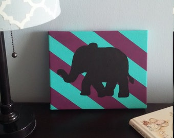 Teal and Purple Striped Elephant Painting / Canvas / Nursery Decor
