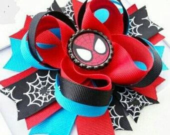 "Spiderman 4.5"" bottle cap Layered Boutique bow"