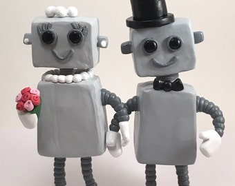 Custom Robot wedding cake topper / robot figurines / clay cake toppers