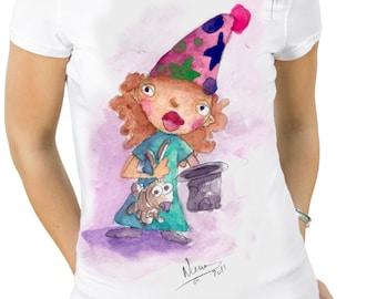 "unixes ""magician with rabbit"" t-shirt."