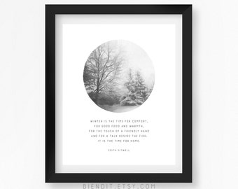 Winter is For Home, Literary Quote, Edith Sitwell, Quote Print, Snow, Winter, Seasons, Typography Print, Literary Art, Minimalist Art