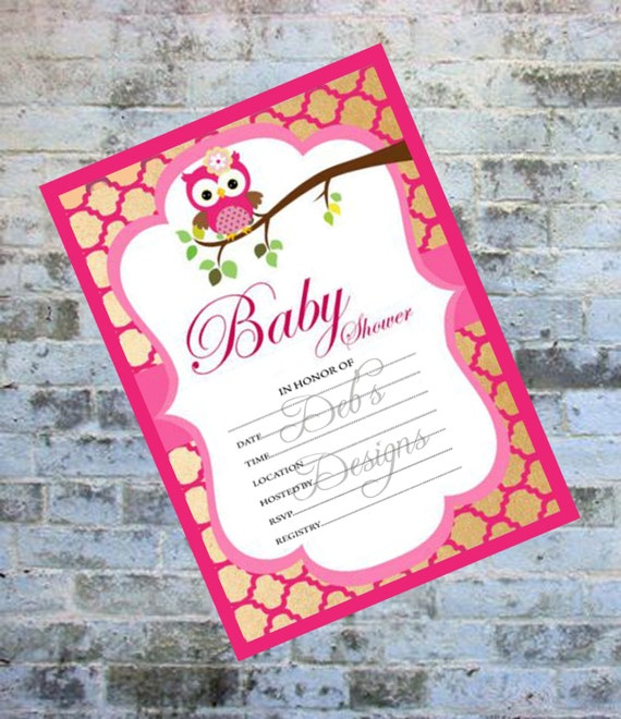 Blank Owl Baby Shower Invitations: Baby Shower Invitations Fill In Invitation Blank