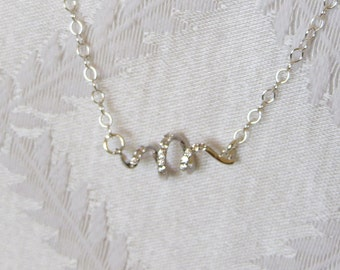 Sterling Silver Necklace with Silver & Crystal Spiral, SN-115