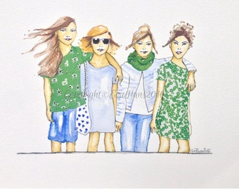 Watercolour Fashion Illustration Titled Girlfriends in Green, with Free Shipping Standard Delivery