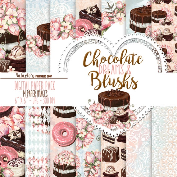 Chocolate and Peony Digital Paper Pack  Instant Download Printable Blush Blue Chocolate Brown Peony Cake Donut Confectioner's Sweet 6x6""