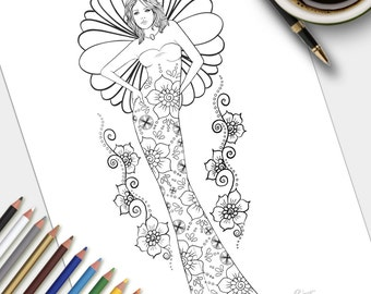 Adult Colouring Page Flaunt