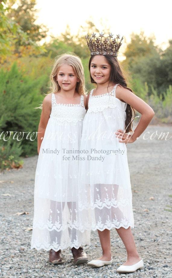Jade Dress, *In Stock Ready To Ship!* Off-White Bohemian Style Flower girl Lace & Crochet dress, Rustic Lace Flower Girl dress, Romantic