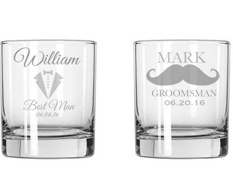One Single (1) Etched Whiskey Glass, Custom, Groomsman gifts, Grooms, Wedding, Bride