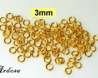 100 jump rings, clamp ring, open, 3 mm gold (41.3)
