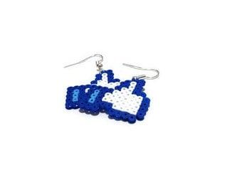 Earrings Facebook Like Button [Pixel Art Hama Beads]
