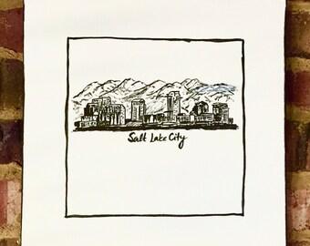 Salt Lake City Skyline Painting