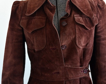 Plum Suede 70's Jacket with additional Faux Fur Neck Wrap