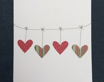 Hanging Hearts Greetings Birthday Valentine Wedding Card
