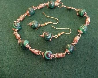 malachite bracelet and earrings set