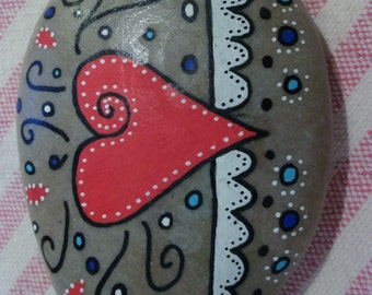 Pebble art, ornament, really pretty red heart hand-painted stone art