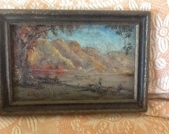SALE!  Antique oil painting on board, framed, romantic era